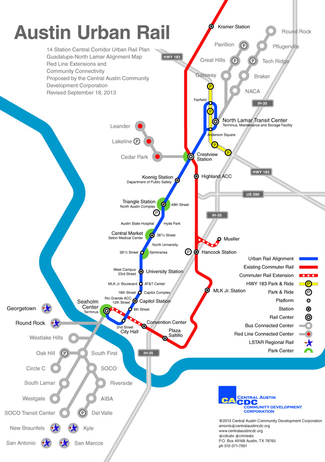 Austin Urban Rail Map